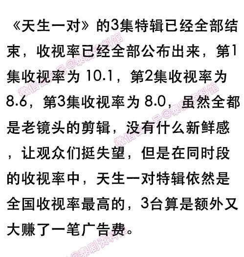 【泰娱新闻】《天生一对》特辑收视率公布